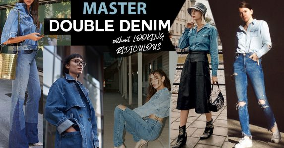 how to master double denim fashion, double denim coat, jacket and pants, double denim skirt outfit