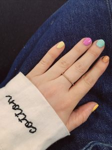 don't forget the details step in how to develop a personal style- example of ways to do that through nail polish. multi colored nails to express personality
