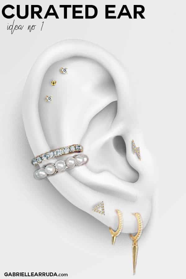 curated ear, ear piercing ideas, ear piercing tragus, maria tash look