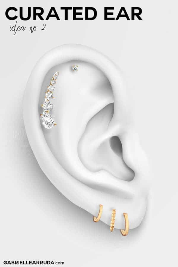 curated ear, ear piercing ideas, ear piercing helix, maria tash look