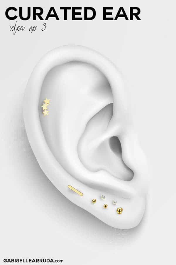 curated ear, ear piercing ideas, ear piercing inner lobe, maria tash look