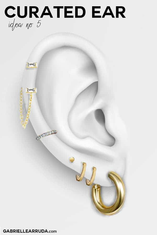 curated ear, ear piercing ideas, ear piercing combinations, maria tash look