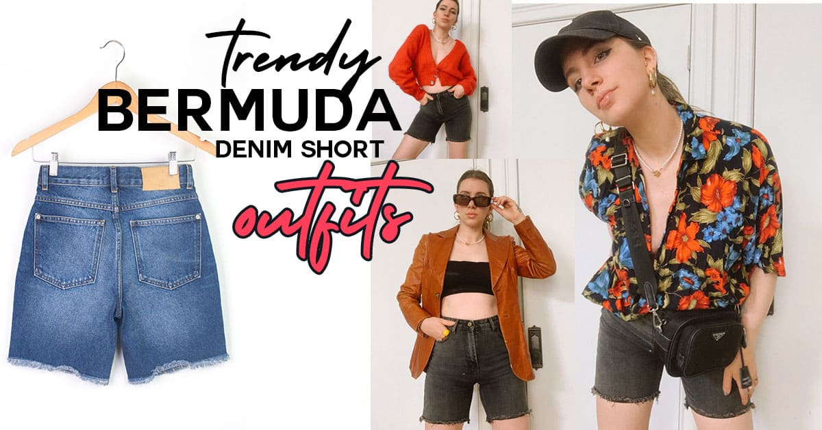 How to wear the long denim short trend