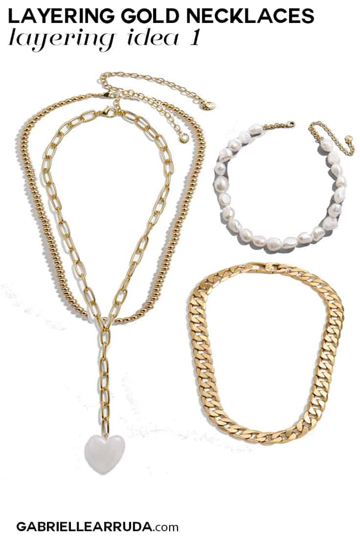 gold necklace trend, gold necklace layering idea 1