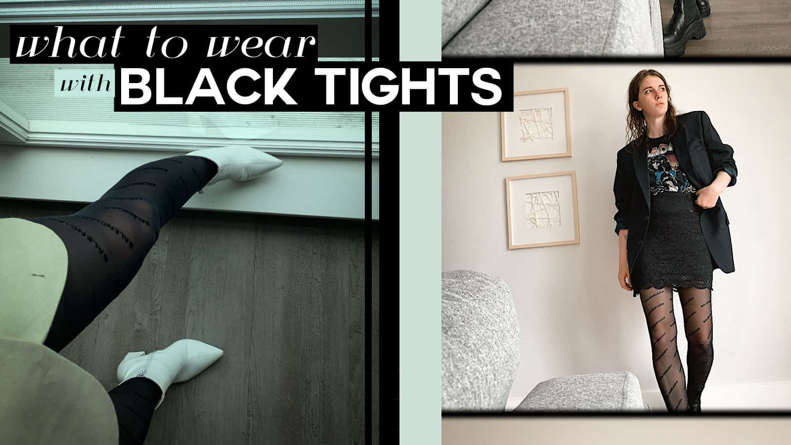 what to wear with black tights, black tights outfit idea