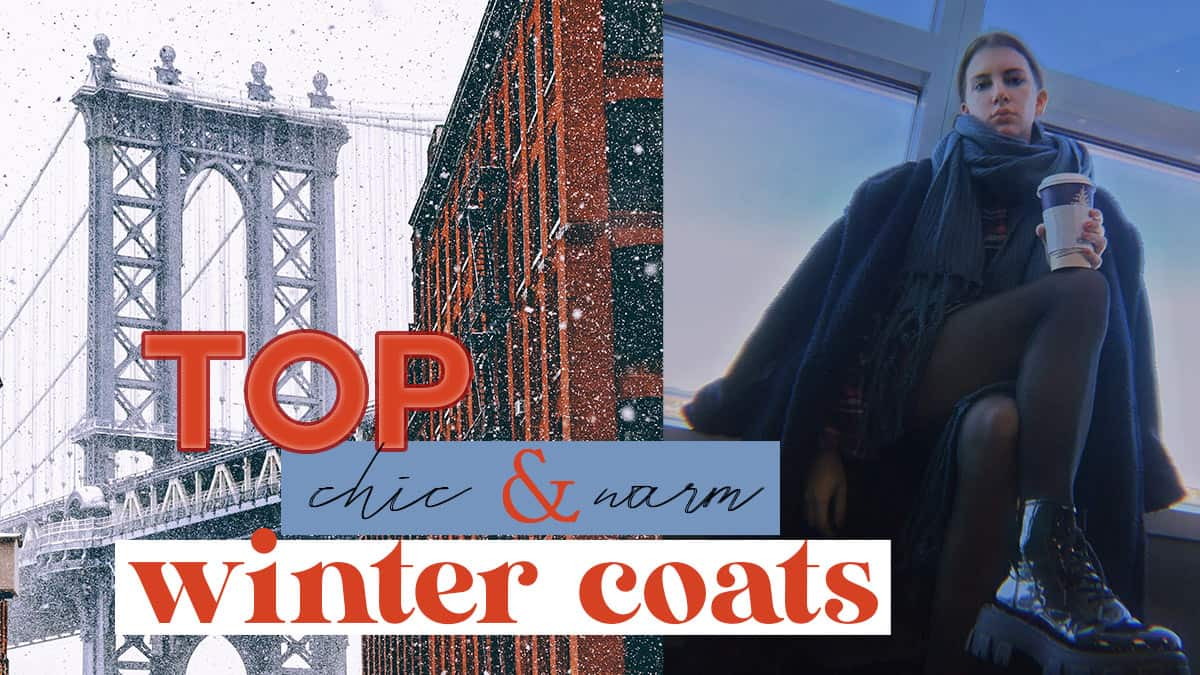 top warm and fashionable winter coats. Snowy scene of nyc and teddy coat on style blogger Gabrielle Arruda