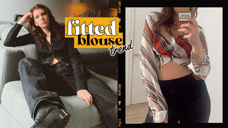 fitted blouse trend 2020, open button fitted blouse on style blogger gabrielle arruda