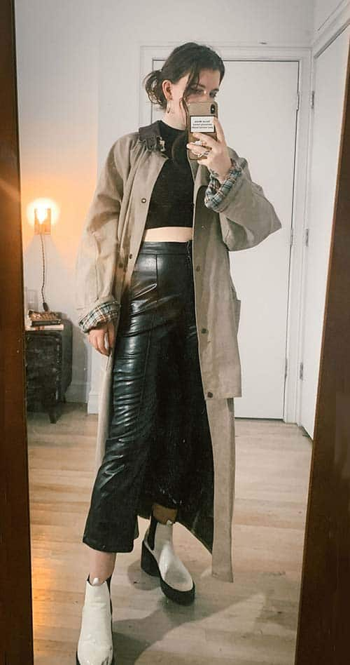 oversized trench coat on style blogger gabrielle arruda with leather pants and black crop mock turtleneck
