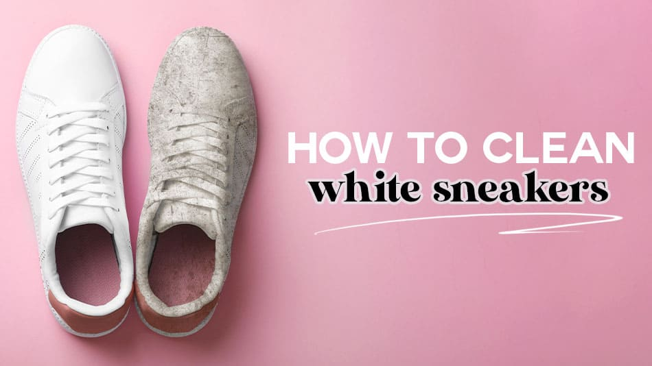 how to clean white sneakers, white sneaker and dirty sneaker next to each other. all the different methods to clean white sneakers