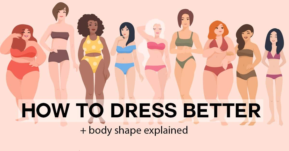 how to dress better + body shape explained, illustration of many body types and styles of woman in bikinis