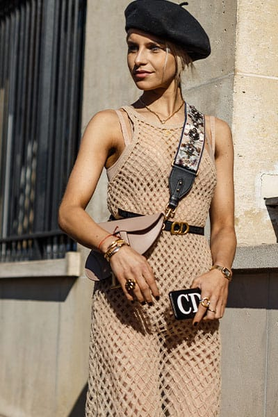 spring fashion trends 2021, influencer caroline daur in netted dress with dior bag and beret