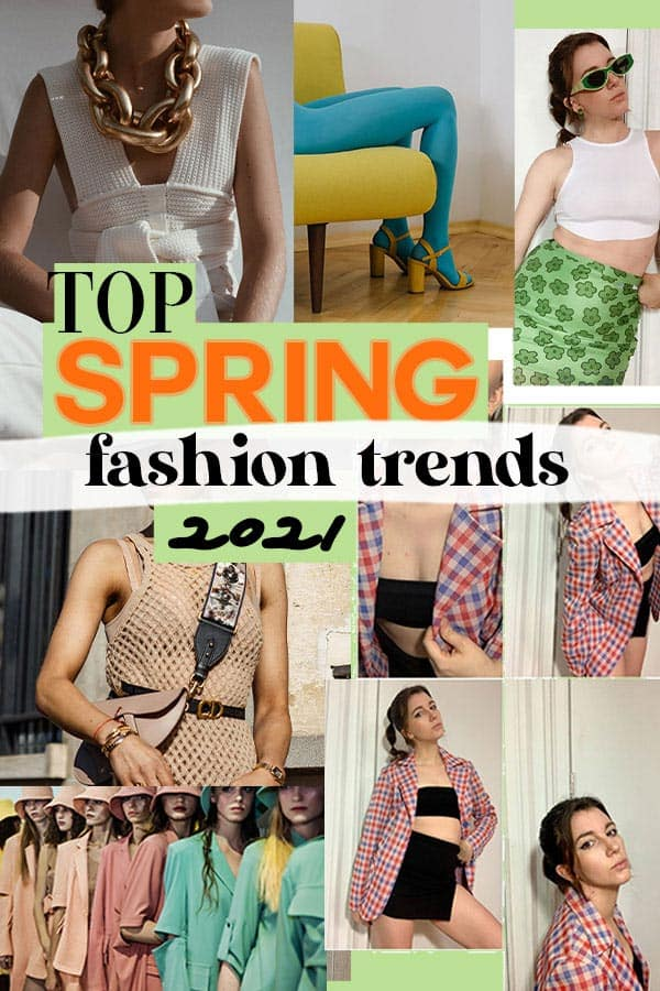 top spring fashion trends 2021: elevated crochet, retro prints, colorful tights, green color trend, netted dresses, gingham pint, pastel color tones