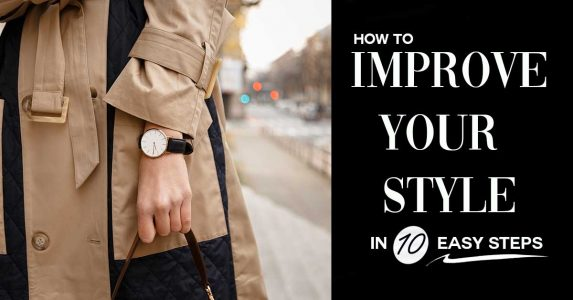 how to improve your style in 10 easy steps, image of woman in classic trench coat with watch on and black purse in city street