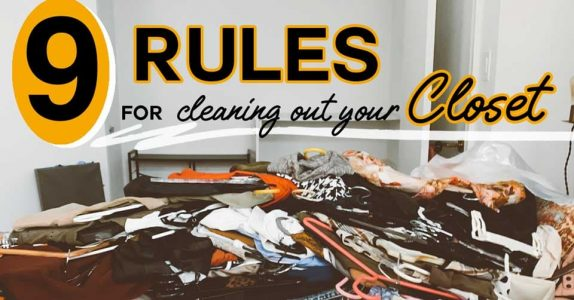9 rules for cleaning out your closet, image of very messy bed with clothing on it and hangers with empty closet in background