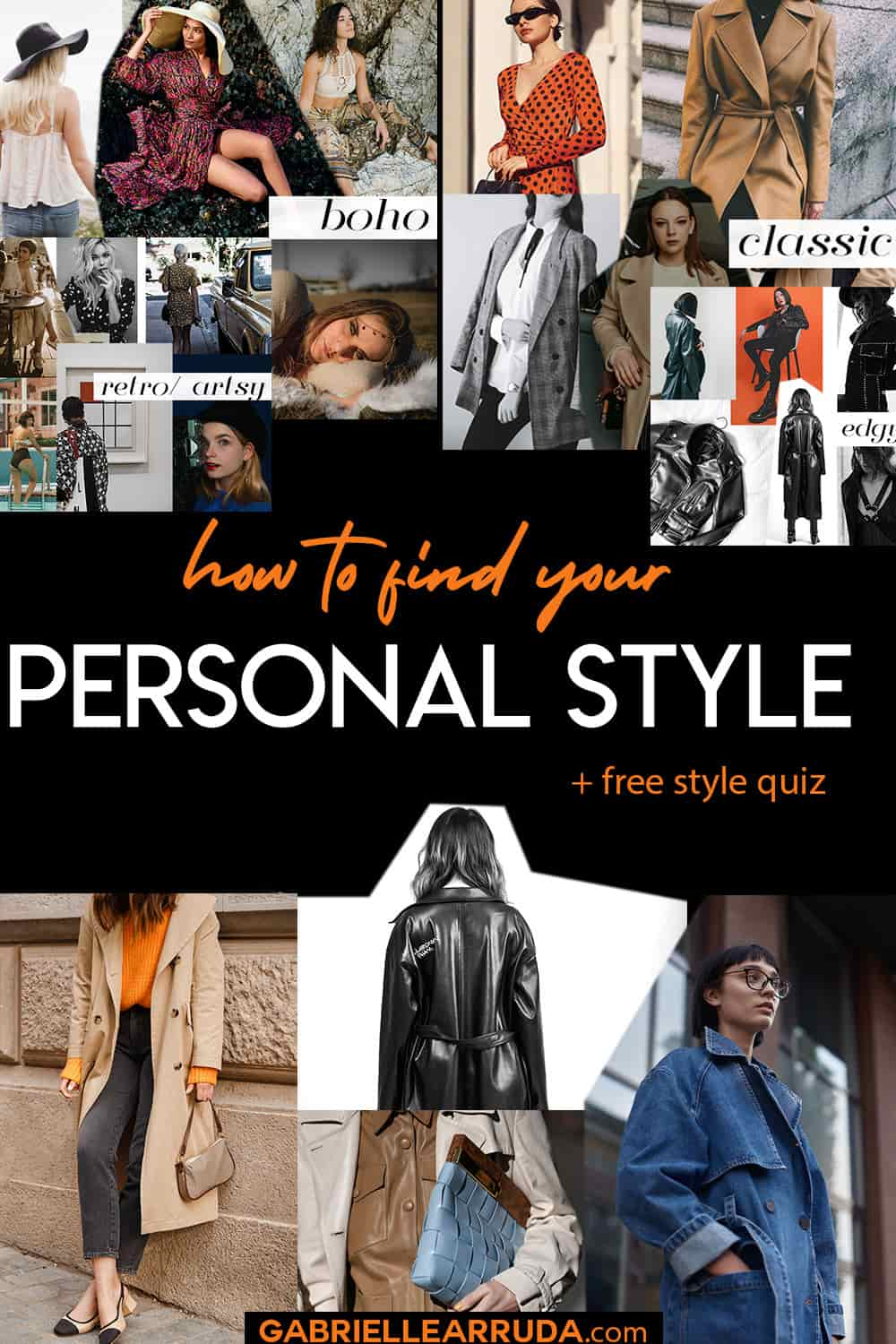 how to find your personal style, images of different fashion styles- classic, boho, trendy, etc with a few fashion inspiration images