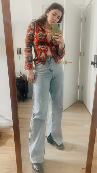 take pictures of your winning outfits, how to develop your personal style, gabrielle arruda mirror self with vintage blouse and jeans