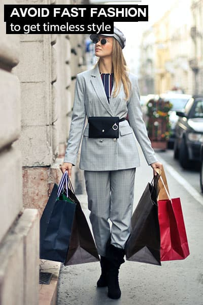 avoid fast fashion to get timeless style- girl in trendy outfit with lots of shopping bags