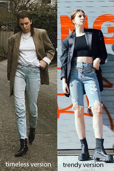 side by side comparison of gabrielle arruda style blogger showing how the boxy blazer can be worn in a timeless style- with jeans, a white tee, and basic black boots versus a trendy outfit version with chunky boot, cropped top, chain belt, and long denim shorts