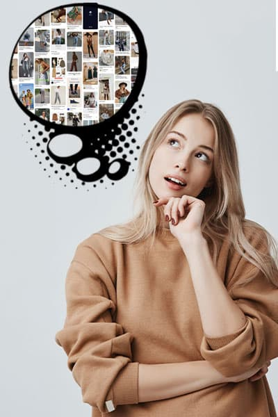 girl thinking with a thought bubble with a bunch of fashion inspiration images inside bubble,